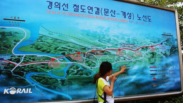 The map of the train operating between South and North, closed after the 2008 incident, when a South Korean tourist was shot by North Korean soldiers at the Mount Kumgang Tourist Region.